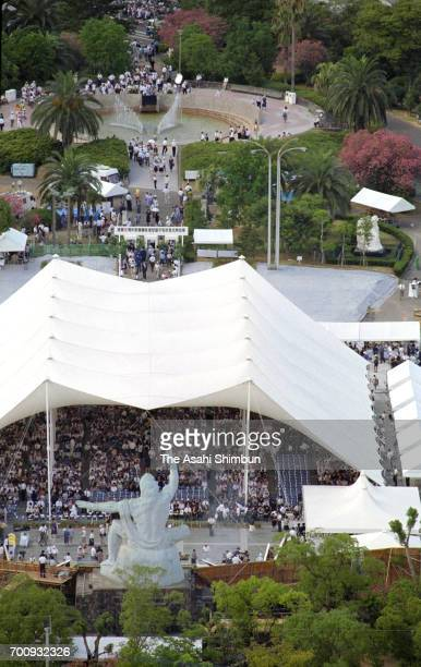 In this aerial image people attend the memorial ceremony on the 50th anniversary of the Nagasaki Abomb dropping at the Peace Park on August 9 1995 in...