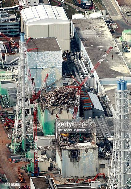 In this aerial image reactor decommissioning work continues at four reactors of Fukushima Daiichi Nuclear Power Plant during the press tour on May 26...