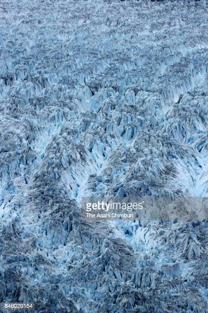 In this aerial image retreated Columbia Glacier is seen on June 24 2017 in Valdez Alaska United States The tidal glacier retreated 29 kilometres in...