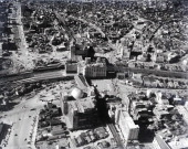 In this aerial image Shibuya Station is seen on February 1 1961 in Tokyo Japan A large scale redevelopment around Shibuya station is scheduled as the...