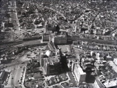 In this aerial image Shibuya Station is seen on February 1 1961 in Tokyo Japan Labour Unions go on 24hours strike demanding the pay rise A large...