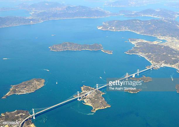 In this aerial image Shimanami Kaido or Nishiseto Expressway is seen on March 8 2008 in Onomichi Hiroshima Japan