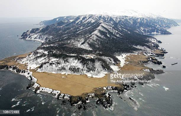 In this aerial image Shiretoko Peninsula is seen on April 20 2005 in Rausu Hokkaido Japan