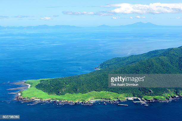 In this aerial image Shiretoko Peninsula is seen on June 30 2006 in Shari Hokkaido Japan