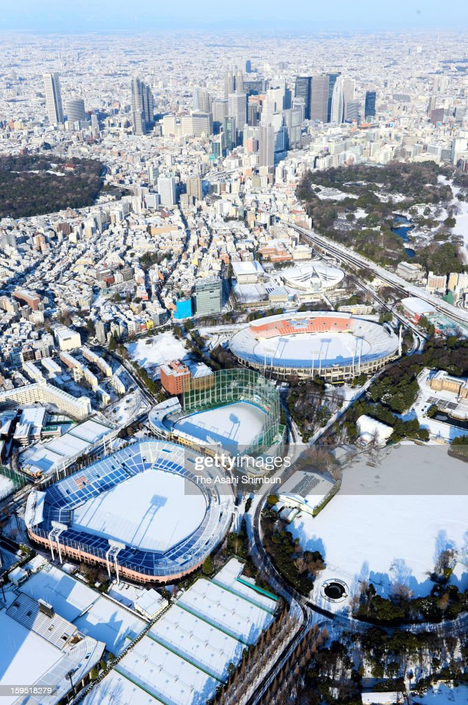 In this aerial image, snow capped Tokyo is seen a day after the snowfall on January 15, 2013 in Tokyo, Japan. A strong low pressure system caused heavy snow and strong wind in the coast area including Tokyo, more than 500 injured.