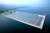 In this aerial image solar panels are arranged at Kagoshima Nanatsujima Mega Solar Power Plant on November 1 2013 in Kagoshima Japan 290000 solar...