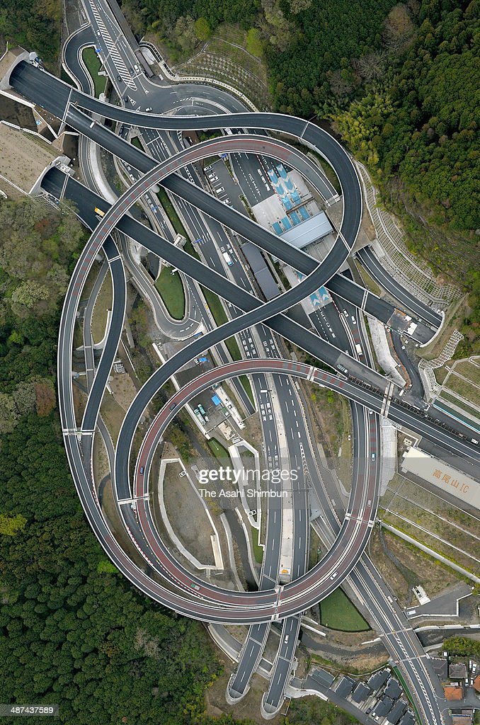 In this aerial image, Takaosan Interchange of Ken-O Expressway is seen on April 19, 2014 in Hachioji, Tokyo, Japan.