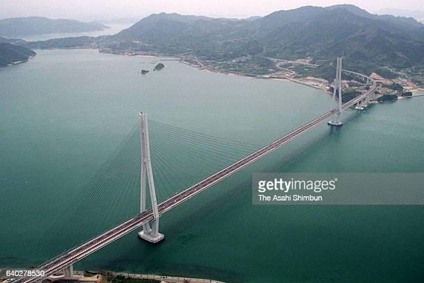 In this aerial image tatara Ohashi Bridge of Shimanami Kaido Expressway is seen on April 3 1999 in Kamishima Ehime Japan