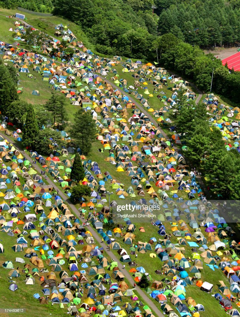 In this aerial image, tents of festival goers are arranged during the Fuji Rock Festival at Naeba Ski Resort on July 26, 2013 in Yuzawa, Niigata, Japan. The one of the biggest outdoor music festival will be until July 28.