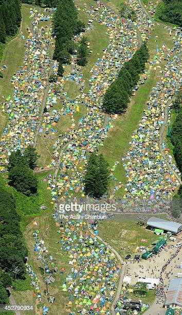 In this aerial image tents of festival goers are arranged during the Fuji Rock Festival at Naeba Ski Resort on July 25 2014 in Yuzawa Niigata Japan