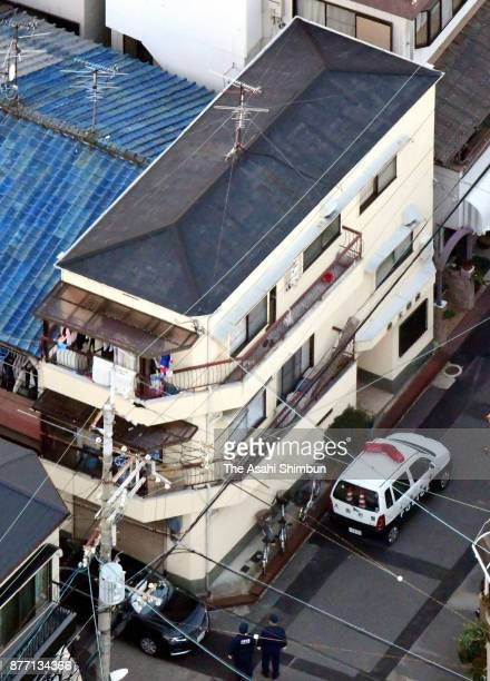 In this aerial image the apartment building where Mayumi Saito lives is seen on November 20 2017 in Neyagawa Osaka Japan She was arrested after she...