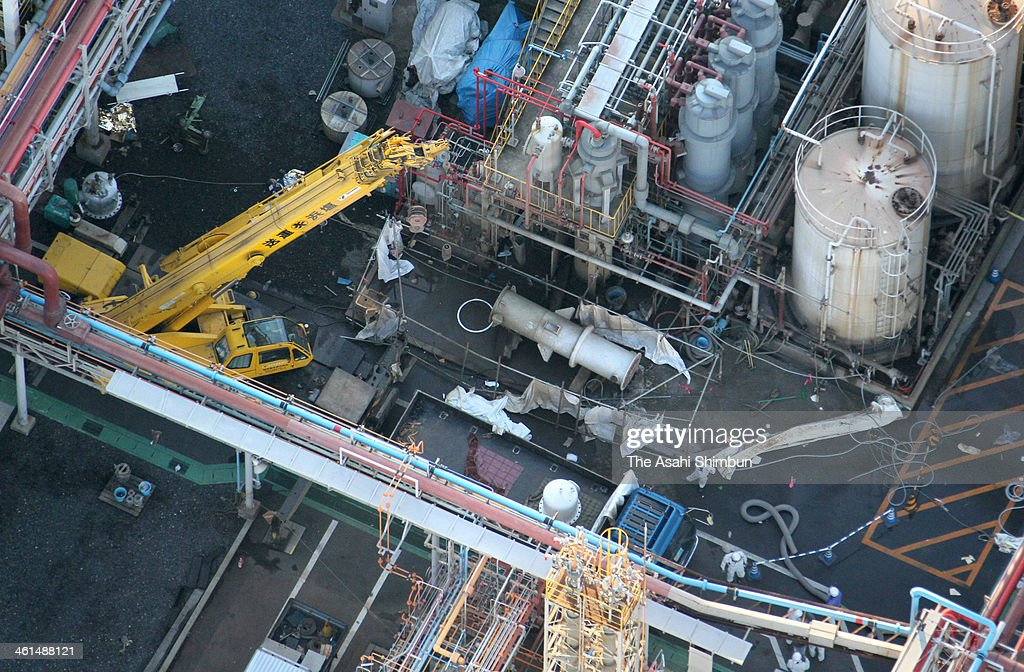 In this aerial image, the explosion site of the Mitsubishi Materials Corporation's Yokkaichi Plant is seen on January 9, 2014 in Yokkaichi, Mie, Japan. Five people were killed and twelve injured in the explosion.