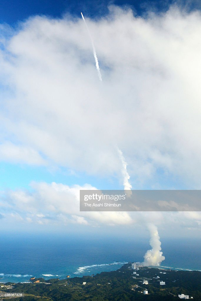 In this aerial image the H2A Launch Vehicle No29 of the Japan Aerospace Exploration Agency and Mitsubishi Heavy Industries leaves a contrail after...
