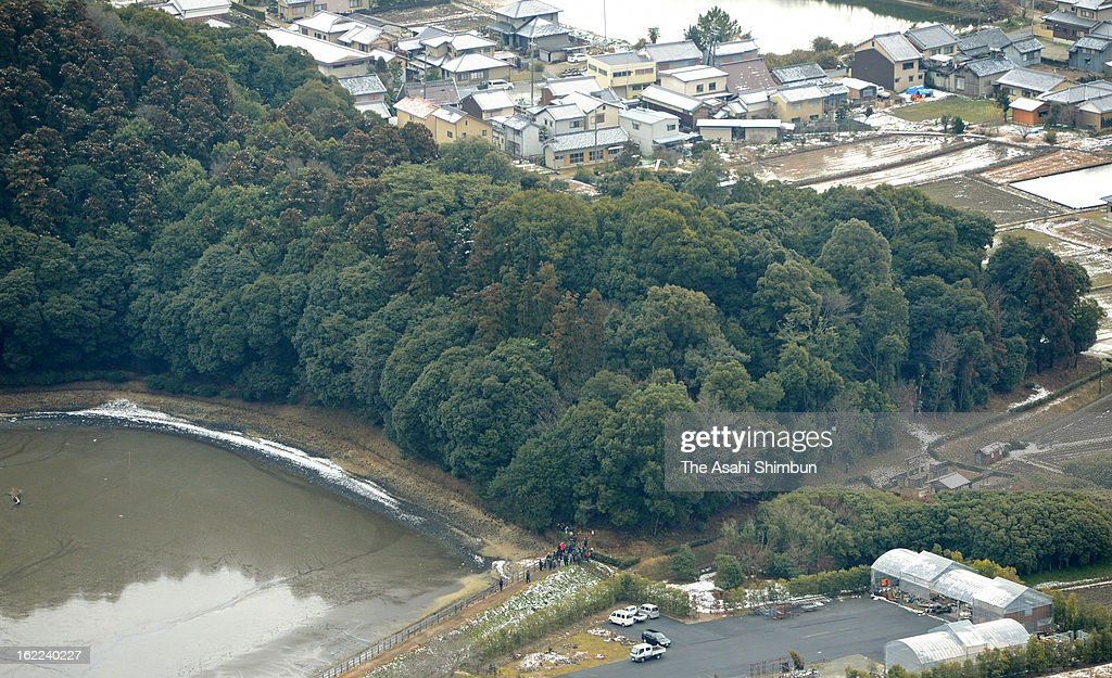 In this aerial image, the Hashihaka Ancient Tomb is seen on February 20, 2013 in Sakurai, Nara, Japan. The tomb, some researchers believe Queen Himiko's, is open for the investigation for the first time due to the tomb is under the Imperial Household Agency.