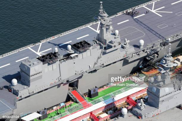 In this aerial image the Maritime SelfDefense Force's new destroyer Kaga is commissioned on March 22 2017 in Yokohama Japan The Kaga is 248 meters...