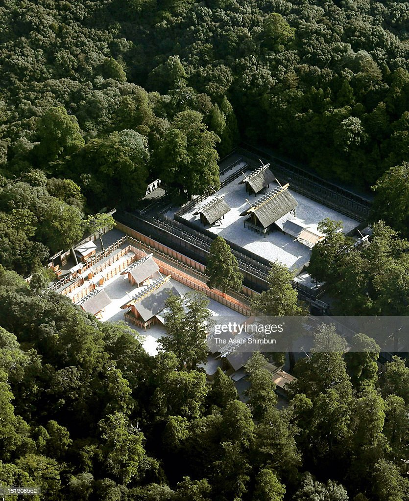 In this aerial image, The new main shrine of Ise Jingu's Inner Shrine (Naiku), foreground, is seen on September 25, 2013 in Ise, Mie, Japan. On October 2, Ise Jingu will move the object of worship to its new main shrine constructed of Japanese cypress at the Inner Shrine (Naiku), in a ceremony called Sengyo no Gi. The Inner Shrine is the place of worship of Amaterasu Omikami, the goddess of the sun, a major deity of the Shinto religion. The Shikinen Sengu ceremony, which is said to have started when Empress Jito ascended the throne in 690, has a history of more than 1,300 years.