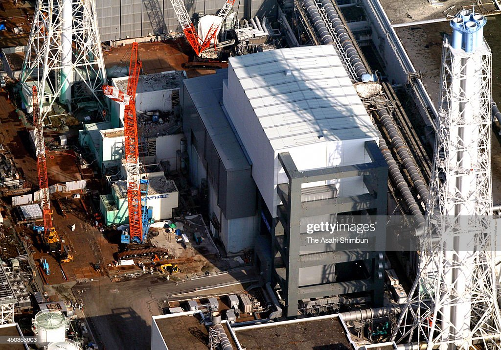 In this aerial image, The No. 4 reactor building of the Tokyo Electric Power Co (TEPCO)'s Fukushima Daiichi Nuclear Power Plant is seen on November 18, 2013 in Okuma, Fukushima, Japan. TEPCO started removing nuclear fuel from a damaged reactor building for the first time, marking a new stage in the decades-long decommissioning process. The operation to empty the storage pool in the No. 4 reactor building, which holds 1,533 nuclear fuel assemblies, began and expected to be removed by December 2014. But the overall decommissioning work at the stricken nuclear plant is expected to take 30 to 40 years to complete.