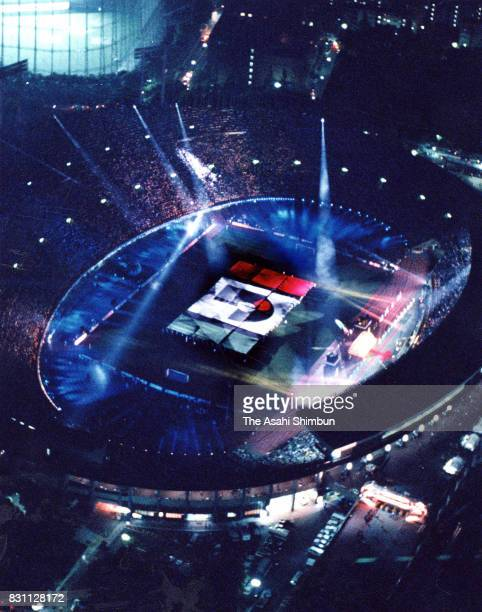 In this aerial image the opening ceremony of the JLeague is seen prior to the JLeague match between Verdy Kawasaki and Yokohama Marinos at the...
