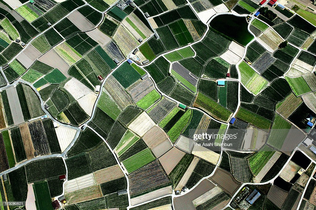 In this aerial image, the patchwork of fields are seem on May 5, 2012 in Minamiawaji, Hyogo, Japan.