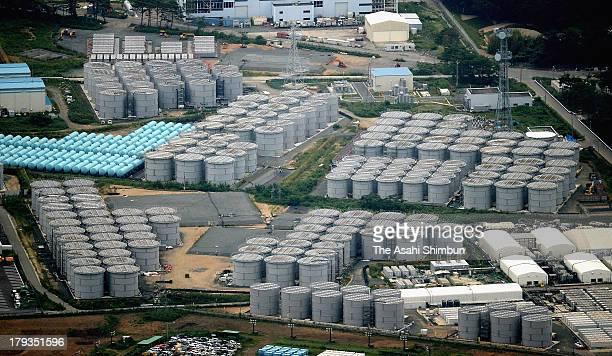 In this aerial image the tanks of contaminated water are seen at Fukushima Daiichi Nuclear Power Plant on September 1 2013 in Okuma Fukushima Japan