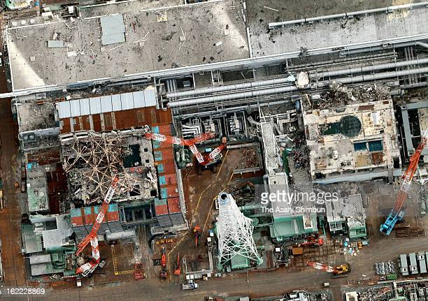 In this aerial image the third reactor building and fourth reactor building of Fukushima Daiichi Nuclear Power Plant are seen on February 20 2013 in...