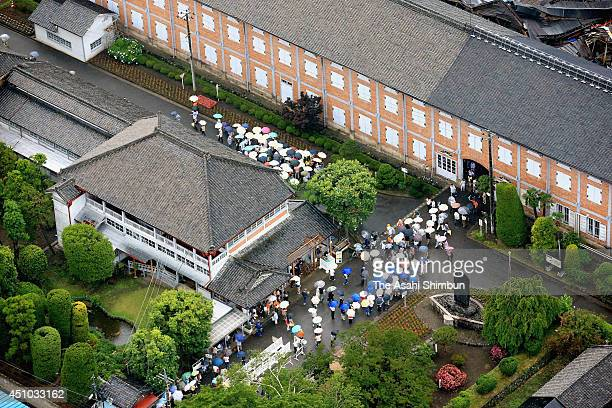 In this aerial image the Tomioka Silk Mill which was registered as the UNESCO World Heritage site is seen on June 21 2014 in Tomioka Gunma Japan The...