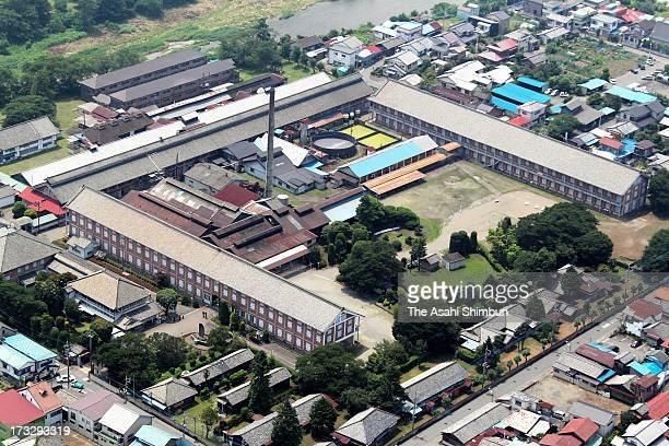 In this aerial image Tomioka Silk Mill is seen on July 10 2012 in Tomioka Gunma Japan