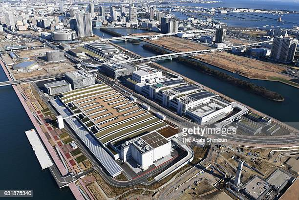 In this aerial image Toyosu Market is seen on January 17 2017 in Tokyo Japan