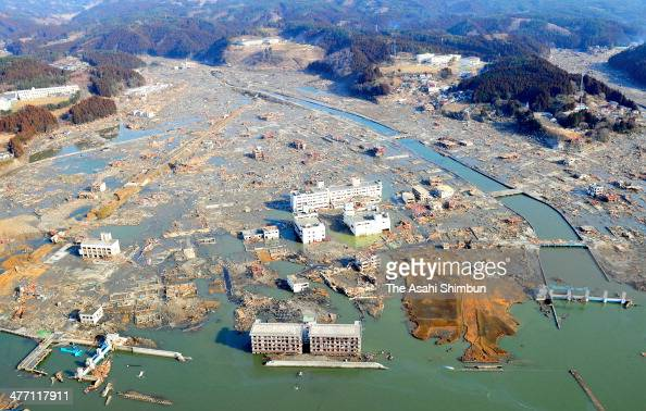 In this aerial image tsunami devastated Minamisanriku town two days after the Magnitude 90 strong earthquake and subsequent tsunami on March 13 2011...