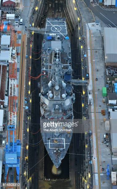 In this aerial image US destroyer USS Fitzgerald is seen in the dock at the US Yokosuka Naval Base on July 11 2017 in Yokosuka Kanagawa Japan The...