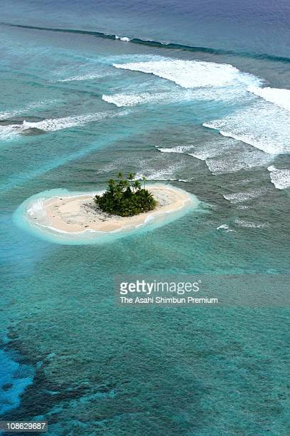 In this aerial image Vasafua Island is seen on March 17 2007 in Funafuti Tuvalu