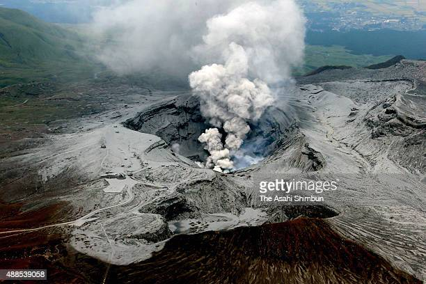 In this aerial image volcanic ashes spew as Mount Aso eruption continues on September 15 2015 in Aso Kumamoto Japan