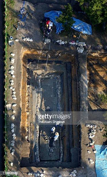In this aerial images the remain research site where the mural paintings of original Horyuji Temple was found is seen on November 24 2004 in Ikaruga...