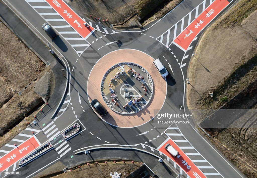 In this aerial photo, a roundabout is seen on January 27, 2014 in Moriyama, Shiga, Japan. As the roundabouts are not common in Japan, this roundabout was installed as a social experiment to investigate its safety and to gather data until March 20, 2014.