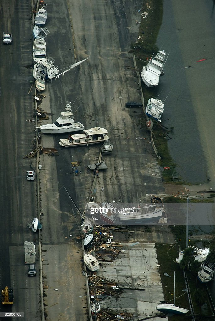 In this aerial photo boats sit on Interstate 45 headed toward Galveston Island after the passing of Hurricane IkeSeptember 13 2008 in Galveston Texas...
