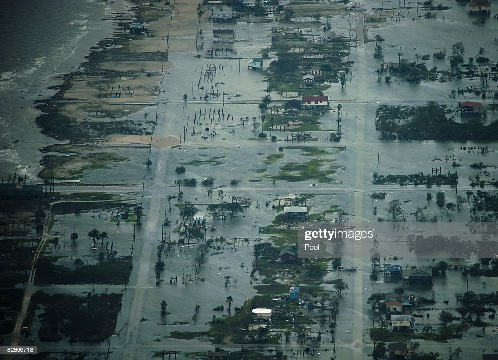 In this aerial photo, damage after the passing of Hurricane Ike is seen September 13, 2008 in Houston, Texas. Ike caused extensive damage along the Texas Gold Coast, leaving millions without power.