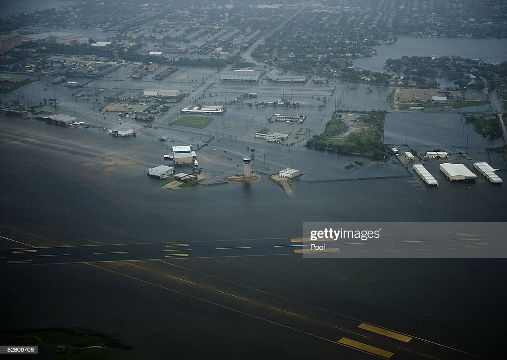 In this aerial photo, floodwaters cover Scholes Field after the passing of Hurricane Ike September 13, 2008 in Galveston, Texas. Ike caused extensive damage along the Texas Gold Coast, leaving millions without power.