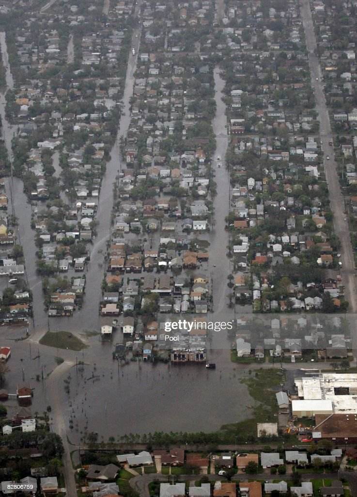 In this aerial photo floodwaters from Hurricane Ike fill the streets September 13 2008 in Galveston Texas Ike caused extensive damage along the Texas...