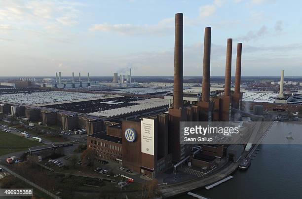 In this aerial photo the Volkswagen factory including its heating plant with its four chimneys stands on November 12 2015 in Wolfsburg Germany...