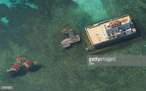 In this aerial photograph taken from a Philippine Air Force aircraft 06 November 2003 shows Chinese built structures on the Mischief Reef in the...