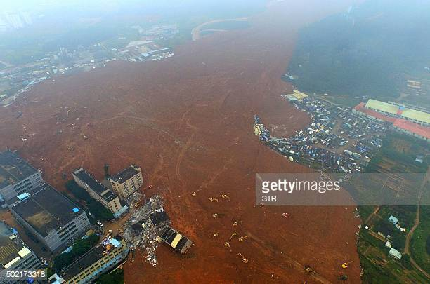In this aerial photograph the site of a landslide that hit an industrial park is seen in Shenzhen in south China's Guangdong province on December 21...