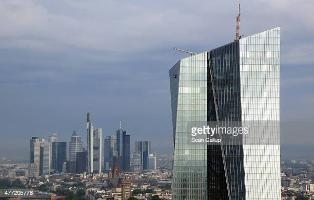 In this aerial view photographed from a mulitirotor drone with local authority permission the new headquarters of the European Central Bank stands in...