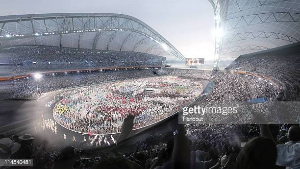 In this artist's illustration handout image provided by SC Olympstroy the interior of what the completed Olympic Stadium will look like in the Coast...