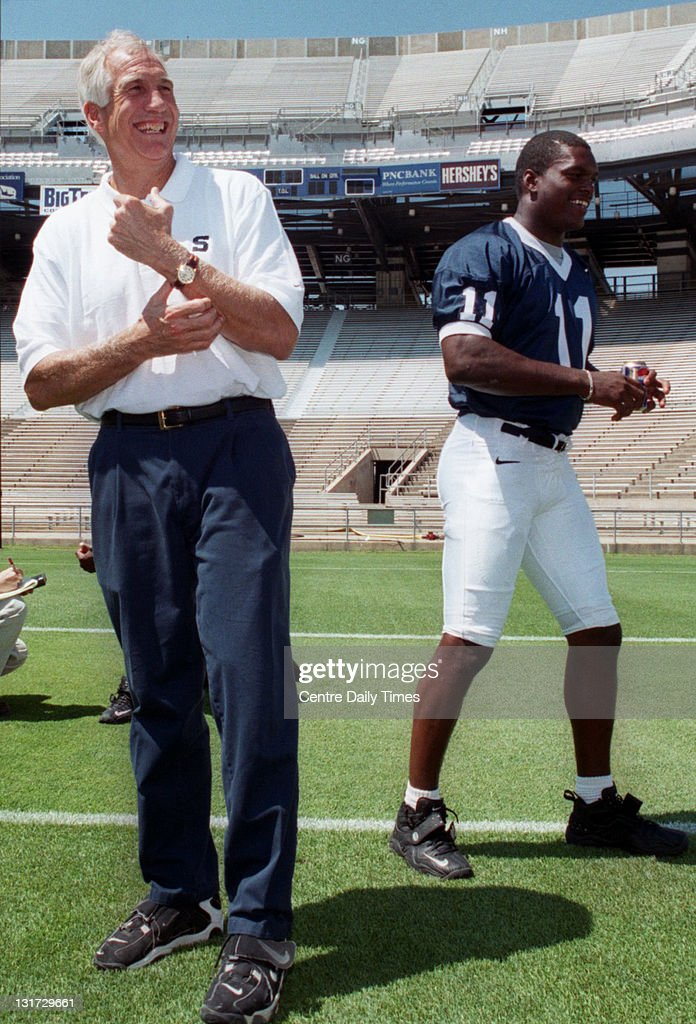In this August 6, 1999 file photograph, former Penn State's Jerry Sandusky shares a laugh with linebacker LaVar Arrington (11) during Media Day. On November 5, 2011, Sandusky was arrested on charges that he preyed on boys he met through The Second Mile, a charity he founded for at-risk youths. He faces charges including seven counts of first-degree involuntary deviate sexual intercourse, all of which are punishable by up to 20 years in prison and a $25,000 fine.