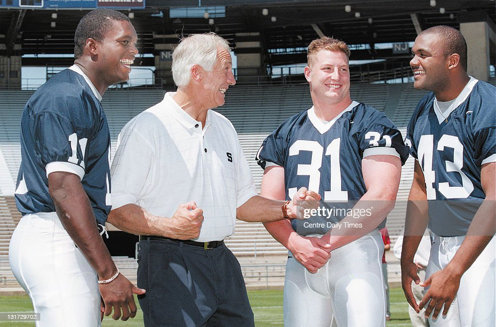 In this August 6, 1999 file photograph, Penn State linebacker LaVar Arrington (11) laughs as former defensive coordinator Jerry Sandusky, center left, tries to fire up fellow linebackers Mac Morrison (31) and Brandon Short (43) during Media Day. On November 5, 2011, Sandusky was arrested on charges that he preyed on boys he met through The Second Mile, a charity he founded for at-risk youths. He faces charges including seven counts of first-degree involuntary deviate sexual intercourse, all of which are punishable by up to 20 years in prison and a $25,000 fine.