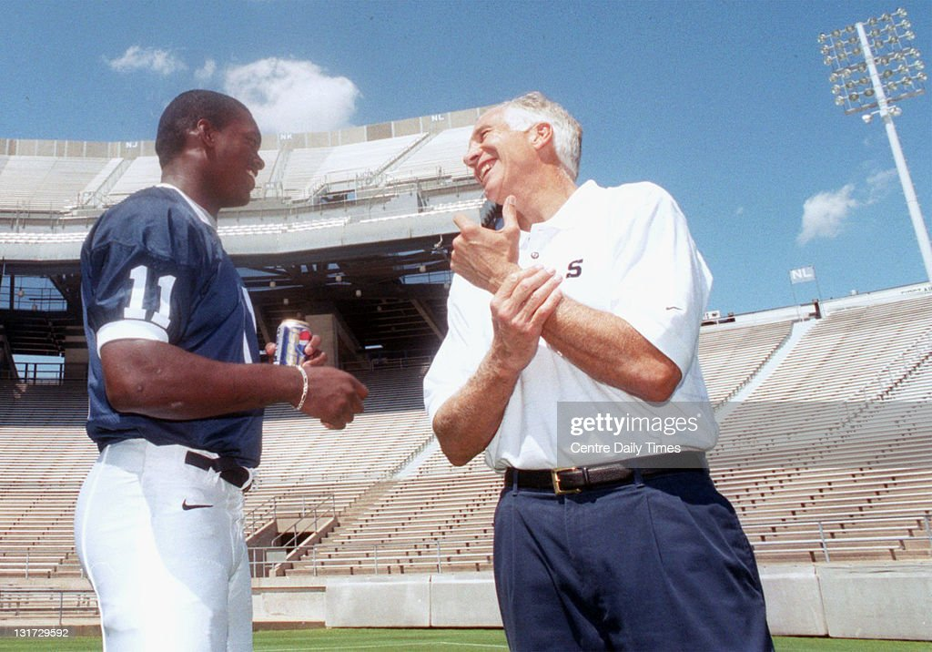 In this August 6, 1999 file photograph, player Lavar Arrington talks with former Penn State defensive coordinator Jerry Sandusky during Media Day. On November 5, 2011, Sandusky was arrested on charges that he preyed on boys he met through The Second Mile, a charity he founded for at-risk youths. He faces charges including seven counts of first-degree involuntary deviate sexual intercourse, all of which are punishable by up to 20 years in prison and a $25,000 fine.