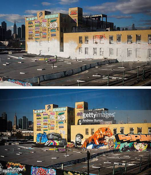 In this beforeandafter photo compilation the historic graffiti mecca 5 Pointz is seen on August 9 and again after being painted over by developers in...