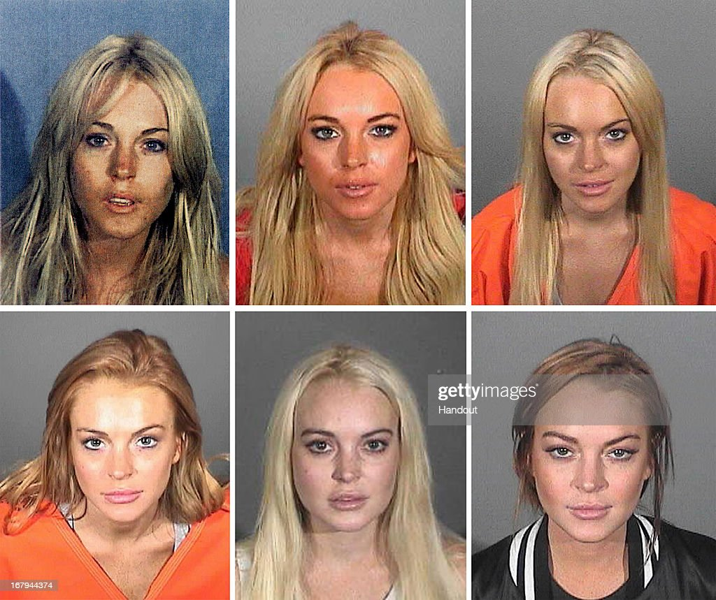 This composite image compares the six booking photos of actress Lindsay Lohan SANTA MONICA CA MARCH 19 In this booking photo provided by the Santa...