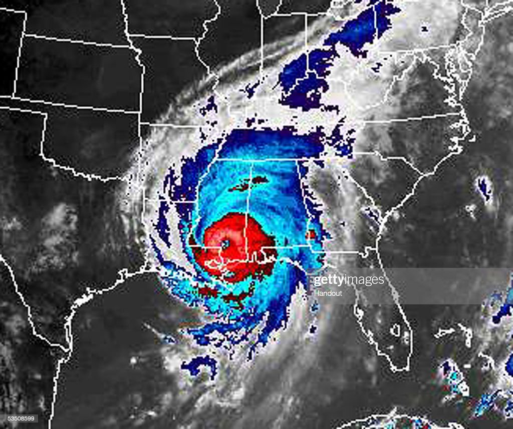 In this color enhanced satellite image from NOAA, Hurricane Katrina is seen at 1:45 PM (EST) August 29, 2005 over the Gulf Coast. Katrina, now a Category 2 strom with 105 mph winds, made landfall close to Empire, Louisiana at about 6:00 AM (CDT).