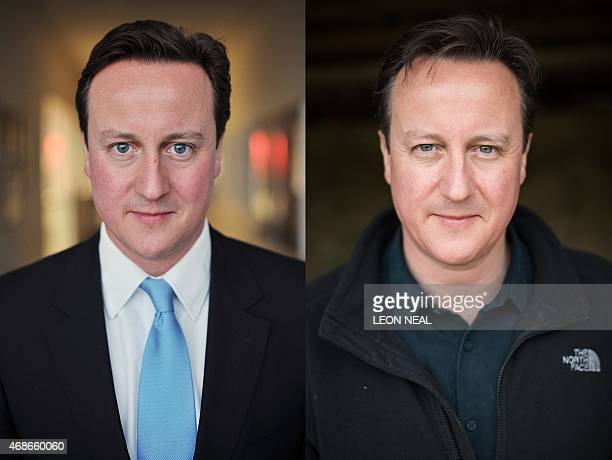 In this combination created on April 5 on the left British Prime Minister and Conservative Party leader David Cameron is pictured after talking to...